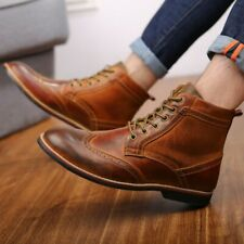 Vintage Men's Leather Brogues Ankle Boots Wingtip Lace Up Military Riding Boots