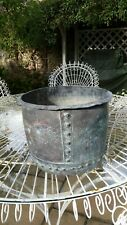 Large Antique Victorian Riveted Copper Garden Planter / Log basket / Bin