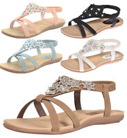 Womens Embellished Slingback Cushioned Comfy Floral Sandals Shoes