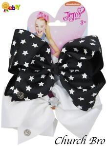 New Nickelodeon JoJo Siwa Bow Set -Black Star/White Girls Hair Bow Set 2 Bows