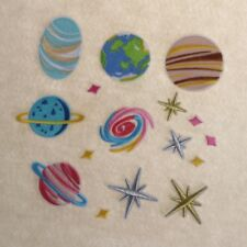 16pcs Universe Planet Embroidered Iron on Patch Clothing Stripe Clothes Applique