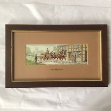"""Vintage Cash's Woven Silk Tapestry """"The Village Inn"""" Made In England"""