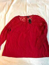 Torrid Red Top Sz 2 Lace Bodice & Long Sleeve Cotton Blend Button Back Plus Size