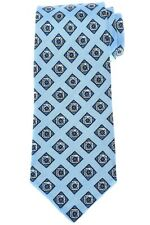 Isaia Silk Linen Tie Blue Geometric 06TI0304 $230