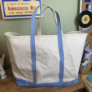 """LL Bean Canvas Boat And Tote 22""""x15"""" Blue Handles White Extra Large"""