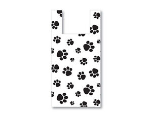 Paw Print WHITE T-Sack Plastic Gift Bags Choose Size & Package Amount