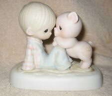 Precious Moments Figurine ~ We're in This Together ~ E-9259 ~ 1982 ~ Boy & Pig