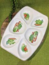 Vtg Serving Platter Dips Vegetable Dish Print Gold Trim Kitsch Retro Japan
