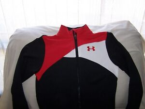 Boys Under Armour Black/White/Red Full Zip ALL SEASON Jacket with Pocket's Med.