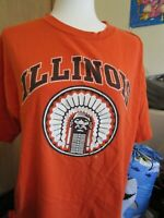 University of Illinois Chief Illiniwek Fighting Illini mens orange shirt XL