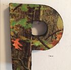 """Wooden Letter Initial Small P Camo Camouflage Mossy Oak 3.5""""x5"""" Wall Art Decor"""