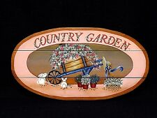 "Cute Hand Crafted & Painted ""Country Garden"" Wood Wall Plaque Bunnies & Flowers"