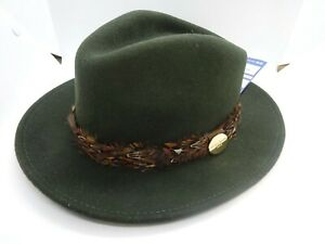Ladies Hicks and Brown 'The Suffolk' Fedora in Dark Green Pheasant Feather