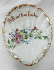 Antique Austrian Hand Painted Clam Shell Dish - London Souvenir
