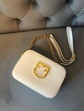 Pre owned Furla Brava leather crossbody chain bag in white