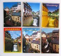 6 x SAARBURG Rheinland-Pfalz color Postkarten Lot gelaufen frankiert gestempelt