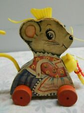 Vtg 1963 Fisher Price Merry Mousewife Wood Pull Toy Sweeping Mouse #662 Box-F