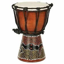 "12"" DJEMBE DRUM BONGO HAND CARVED AFRICAN ABORIGINAL DOT ART Painted DESIGN"