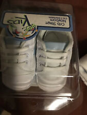 Baby Blue & White Soft Crib Shoes - 0-3 Months - New