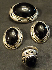 TAXCO MEXICO STERLING SILVER & ONYX 3-pc JEWELRY SET