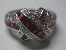 "18KT W/G GENUINE RUBY & DIAMOND ""X"" MOTIF RING"