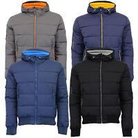 Mens Padded Crosshatch Jacket Quilted Fleece Lined Hooded Winter Zip Coat New