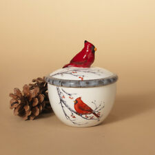 2349170 Winter Cardinal on Berry Branch Covered Bowl Container Christmas Bird