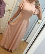 ASOS Petite Embellished Flutter Sleeve Maxi Dress Nude Pink Coral. Size 8. NEW!