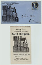 RARE 1875 Advertising Cover Envelope & Brochure Boxed Demijohn Tin Can NY Banker