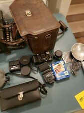 Vintage leather camera bag case lens accessories instructions