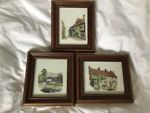3 Framed Small Needlework Tapestry Pictures, Country Houses.