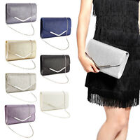 Dazzling Envelope Clutch Bag Sparkle Foldover Flap Topped W/ V Bar Prom Purse