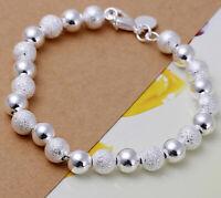 925 Sterling Silver Elegant Bracelet Women's 8mm Beaded Beads D24B