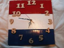 Upcycled Pallet Wood Wall Clock With Dutch Flag