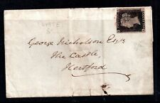 GB QV 1840 1d Penny Black Pl 8 on cover used 1841 Red Maltese Cross WS18344