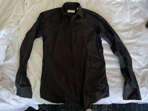 Yves Saint Laurent Mens Small Slime fit Button Black Shirt