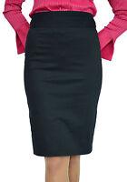 New Ladies Office Casual Fashion Knee Length Pencil Black Skirt 8 10 12 14 16 18