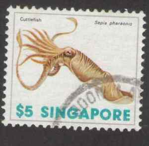 Singapore. 274. $5. Cuttlefish. Sea Shells. Single. Used. 1977 -16