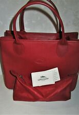 LONGCHAMP NEW Red Pebbled Calfskin LEATHER TOTE Bag Satchel & Accessory Pouch