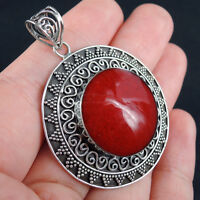 Beautiful RED CORAL & 925 Sterling Silver Pendant Jewellery, ETHNIC
