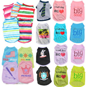Various Summer Spring Puppy Dog Cat T-Shirt Vest Shirt Small Pet Clothes Costume