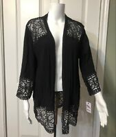 NWT NY Collection Black Long Sleeve Open Front Floral Lace  Womens M Kimono