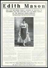 1919 Edith Mason photo opera singing recital tour booking trade print ad