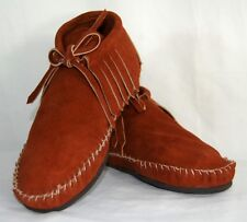 Brown Suede Moccasins women low boot fringe Western Indian lace up Pawnee Style