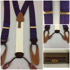 Trafalgar Men Suspenders Silk Purple-Blue Red Print - VGC