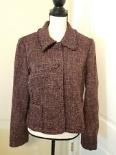 Ann Taylor Purple Pink Tweed Business Blazer Jacket Size 12 Petite Wool Blend