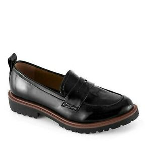 Womens Black Flat Shoes Size 4 Wide Fit Loafer Low Heel Chunky Sole Platform NEW