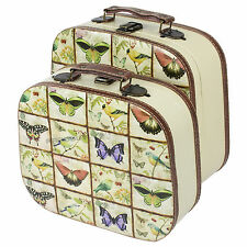 Set of 2 Butterfly Floral Faux Leather Home Storage Cases Boxes Vintage Chests