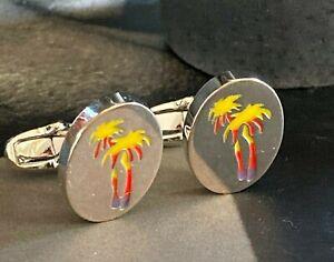 Cufflinks - PAUL SMITH Brushed Silver Raised Palm Tree Cufflinks - England