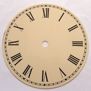 153 mm Ivory Round Metal Clock Dials with Black Roman Numerals, Price Reduced